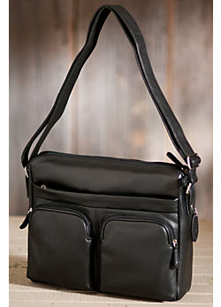 Zip Top Leather Messenger Bag