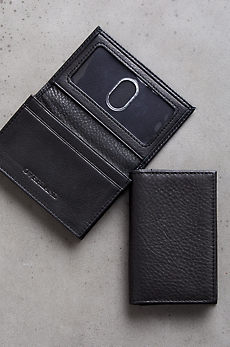 Gusseted Leather Card Case with RFID Protection