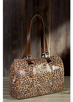 Women's Hobo Madelyn Patterned Leather Satchel