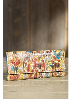 Women's Hobo Sadie Patterned Leather Clutch Wallet