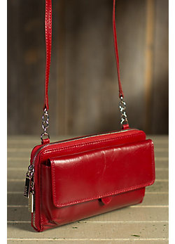 Women's Hobo Abrielle Leather Crossbody Clutch Handbag