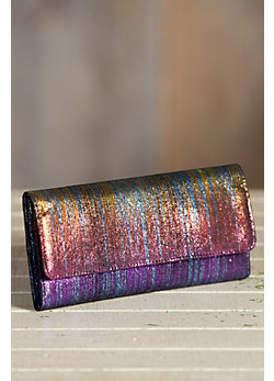 Hobo Sadie Iridescent Leather Wallet