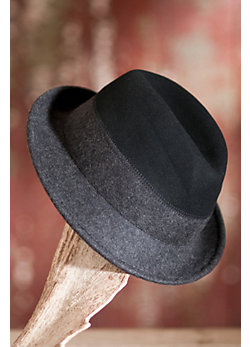Women's Two-Tone Wool Felt Fedora Hat