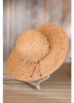 Women's Organic Raffia Big Brim Hat with Beads