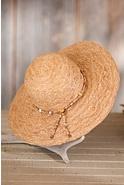Women's Organic Raffia Big Brim Hat with Beads