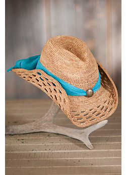 Women's Western Crocheted Raffia Hat with Chiffon