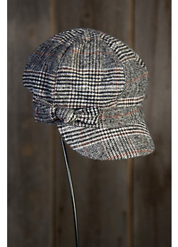Women's Plaid Jockey Cap with Bow