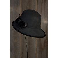 Women's Bohemian Wool Cloche Hat, Black Western & Country