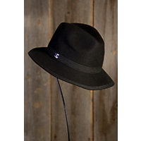 "Women's Topstitch Wool Felt Safari Hat, Black (22 3 / 8"" Circumference) Western & Country"