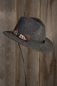 Sierra Wool Felt Safari Hat with Feather Trim
