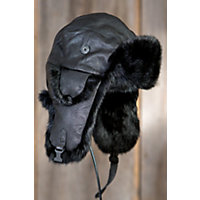 Lambskin Leather Trapper Hat with Rabbit Fur Trim, BLACK