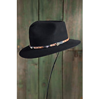 "Rainier Wool Felt Fedora Hat, Black, Size Large (22 3 / 4"" Circumference) Western & Country"