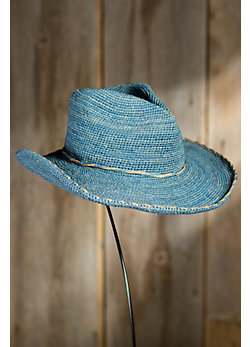 Western Style Crocheted Shapeable Raffia Hat