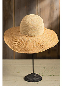 Crocheted Shapeable Brim Raffia Hat