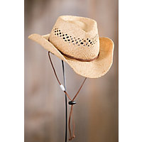 """Children'S Raffia Hat With Chinstrap, Natural, Size S / M (18"""" / 19"""") Western & Country"""