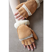 Overland Women's Carob Spanish Sheepskin Fingerless Gloves with Mitten Flap