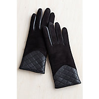 Overland Women's Bay Suede Gloves with Shearling Lining and Quilted Leather Trim