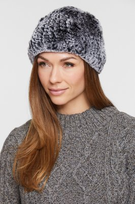 Women's Knitted Rex Rabbit Fur Hat