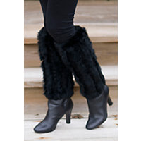 Women's Rabbit Fur Boot Toppers, Black, Size 1 Sz Western & Country