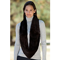 Women's Knitted Mink Fur Infinity Scarf, Mahogany Western & Country