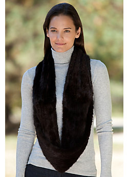 Women's Knitted Mink Fur Infinity Scarf