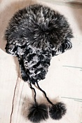 Women's Knitted Rex Rabbit Fur Hat with Fox Fur Trim