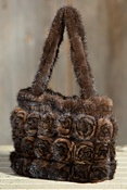 Women's Knitted Mink Fur Rosette Handbag