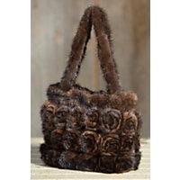 Women's Knitted Mink Fur Rosette Handbag Western & Country