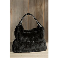 Women's Knit Mink Fur Handbag, Black Western & Country