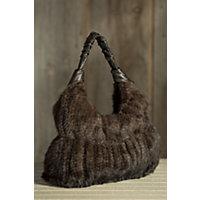 Women's Knit Mink Fur Handbag, Mahogany Western & Country