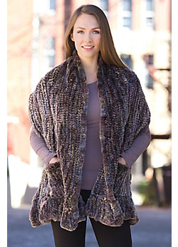 Women's Knitted Rex Rabbit Fur Wrap with Pockets