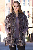 Women's Knitted Rabbit Fur Wrap with Pockets