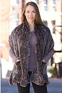 Women's Greta Knitted Rex Rabbit Fur Wrap with Pockets