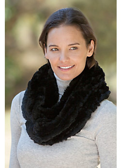 Women's Knitted Rex Rabbit Fur Infinity Scarf
