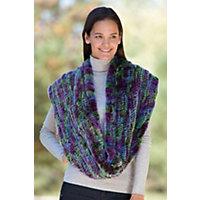 Women's Knitted Rex Rabbit Infinity Scarf, Purple Multi Western & Country