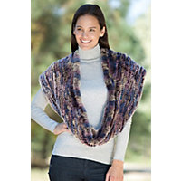 Women's Knitted Rex Rabbit Infinity Scarf, Pastel Multi Western & Country