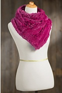 Women's Knitted Rex Rabbit Infinity Scarf