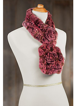 Shayla Knitted Rex Rabbit Fur Scarf with Rosettes