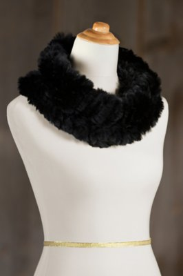 Knitted Rex Rabbit Fur Infinity Scarf and Shrug
