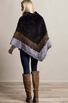 Penelope Knitted Danish Mink Fur Poncho