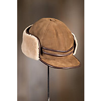 """Shearling Sheepskin Cap With Snap Flaps, Suede Castano, Size Xlarge (23.75"""" Circumference) Western & Country"""