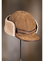 Shearling Sheepskin Cap with Snap Flaps and Leather Trim