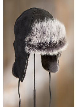 Sueded Shearling Sheepskin Trooper Hat