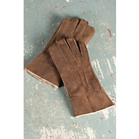 Men's Rugged Shearling Sheepskin Gloves, Suede Castano, Size Xlarge (10.5-11) Western & Country