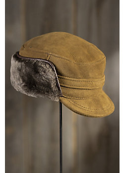 Shearling Sheepskin Cap with Snap Flaps