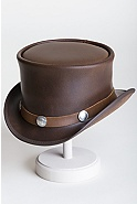 Steampunk El Dorado Leather Hat with Buffalo Nickels