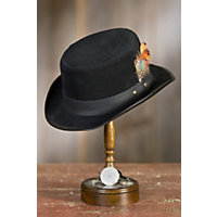 Vintage Men's Costumes – 1920s, 1930s, 1940s, 1950s, 1960s Steampunk Leather Stoker Hat BLACK SUEDE Size XXLarge  24.25quot circumference $149.00 AT vintagedancer.com