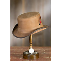 Steampunk Leather Stoker Hat PECAN Size XXLarge  24.25quot circumference $139.00 AT vintagedancer.com