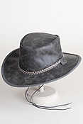 Crushable Oiled-Leather Hat with Chinstrap