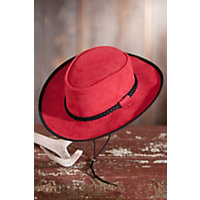 Zephyr Crushable Suede Hat With Chinstrap, Red, Size S (6 3 / 4 - 6 7 / 8) Western & Country